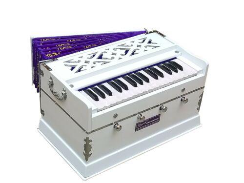 HARMONIUM WHITE~2¾ OCTAVES~DOUBLE REED~4 STOPS~32 KEYS~440 Hz~7 FOLD BELLOW~YOGA