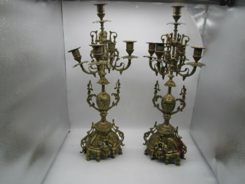 """Pair of 5-Arm Reticulated Candle Holder Heavy Brass Colored Candelabras 23"""" Tall"""