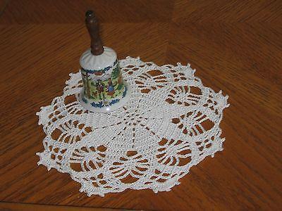 Dainty hand crocheted round 100% white cotton thread doily