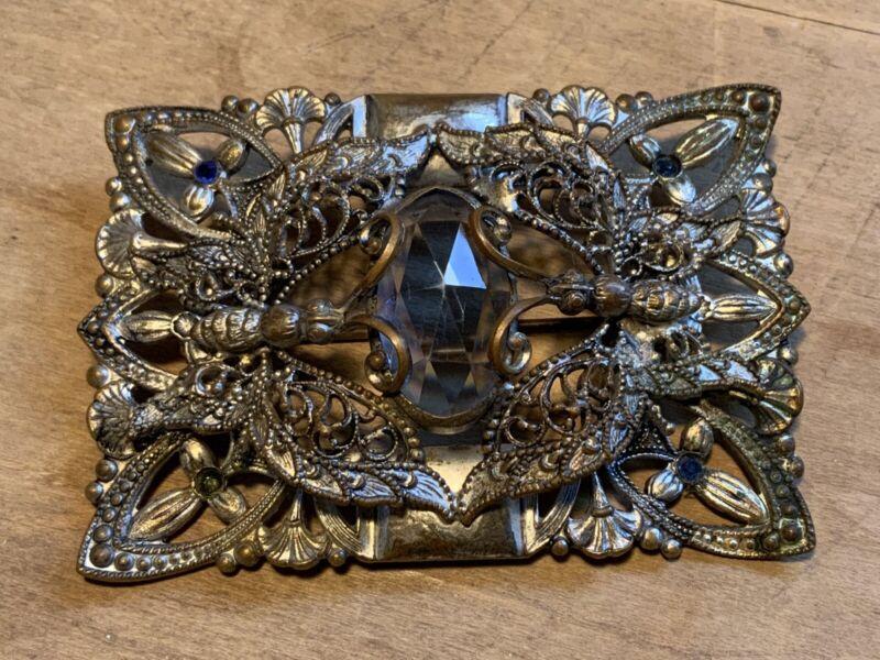 Antique HUGE Silver Tone Pin Brooch with Filigree Butterflies Blue Rhinestones