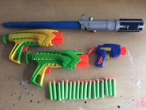 Toy Gun with foam darts Buzz Bee Toys & light sabre HALF PRICE