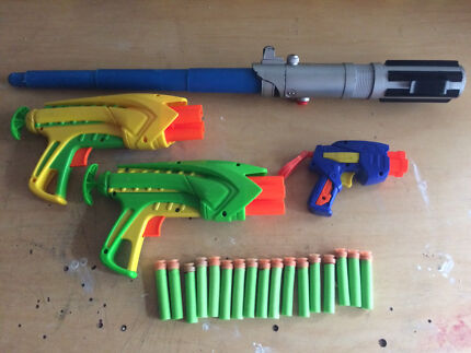 Toy Gun with foam darts Buzz Bee Toys & light sabre HALF PRICE