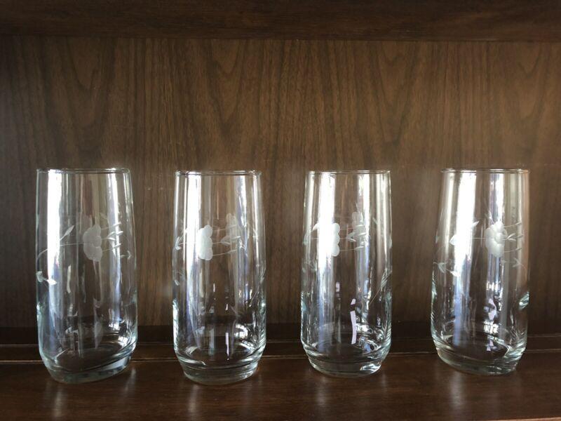 Set of 4 Ice Tea Tumbler Cooler Princess House Crystal Glasses Heritage 462