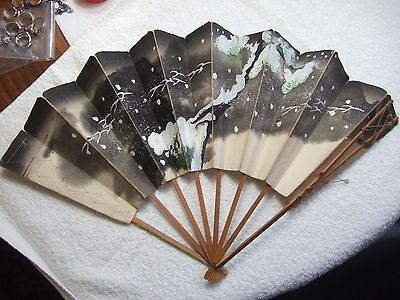 PRE 1888 ORIENTAL JAPANESE FAN ANTIQUE WATERCOLOR/ HAND PAINTED. MEIJI 19C