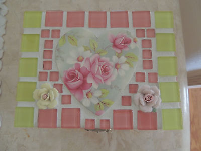 Hand Painted Roses Wooden Jewelry Box