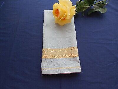 Vintage Blue Huck Towel with Swedish Embroidery or Huck Weaving in (Yellow In Swedish)