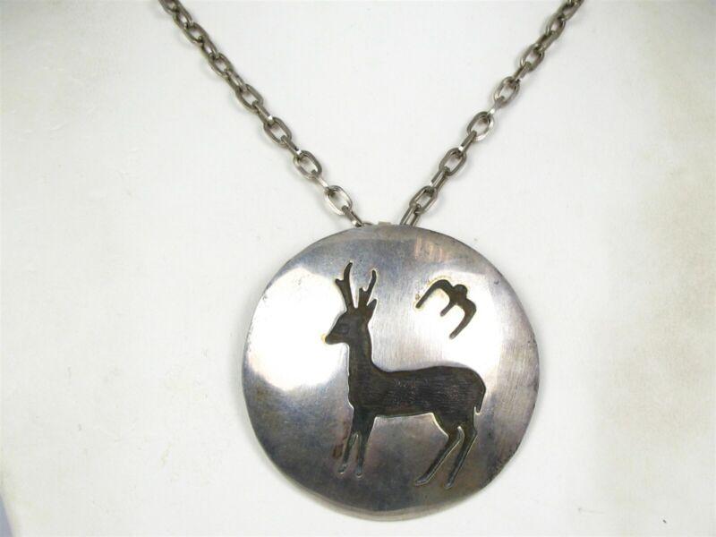 Vintage Sterling Silver Hopi Deer Buck Bird Disk Pendant & Necklace 48g B25