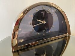 Vintage Seiko Clock Half Moon Brass Smoked Glass Quartz Table Made in Japan