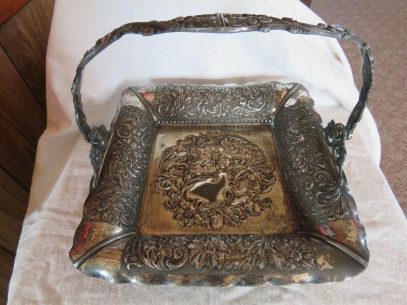 Rare Pairpoint Silver Victorian Bridal Flower Basket Quadruple Plate
