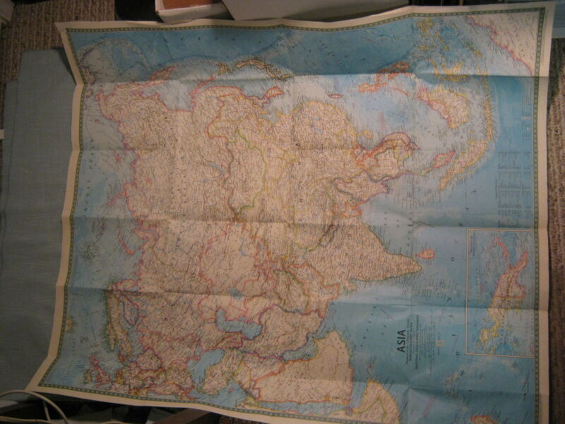 ASIA MAP+PEOPLES OF MAINLAND & SOUTHEAST ASIA MAP National Geographic March 1971