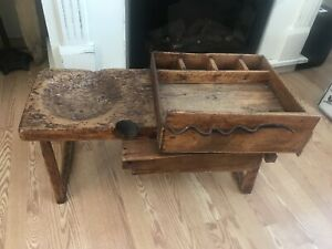 XX Rare Primitive Cobbler/Hoofing table bench Antique wood horse