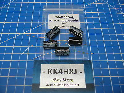 470uf 50v Axial - Electrolytic Capacitors - Sc Brand - Lot Of 5