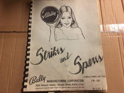Bally Strikes and Spares Pinball Machine  Manual