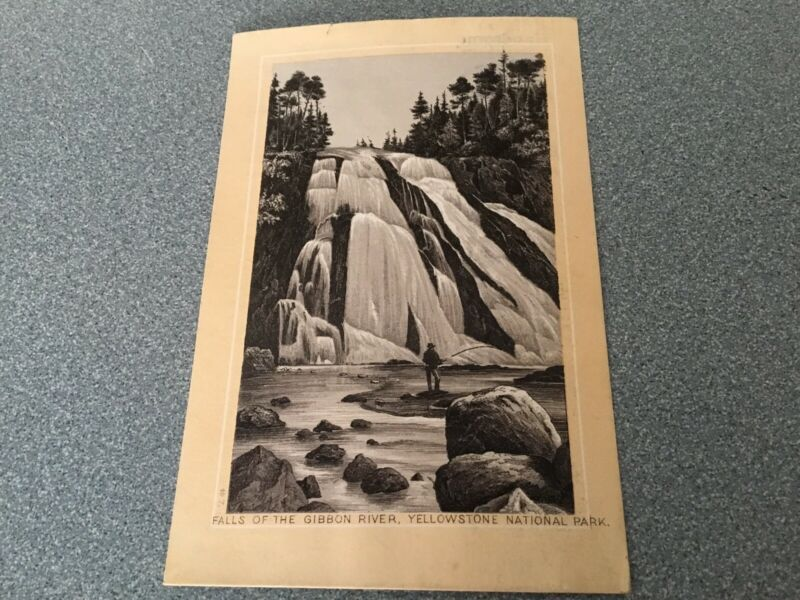 JERSEY COFFEE VICTORIAN  TRADE CARD FALLS OF THE GIBBON RIVER YELLOWSTONE PARK
