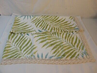 New Rectangle Green White Table Cloth With Lace Boarder Feels Like Linen