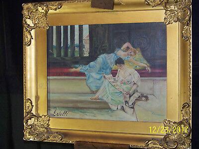 E.Jolli Signed c1800's Original Orientalist Oil On Canvas Painting
