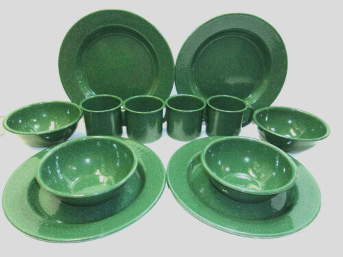12-PC Set Speckled Green Enamel Metal Camping 4 Plates, 4 Bowls & 4 Cups (New)