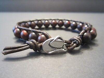 Men's Women's Western Cowboy Antique Brown Leather Bloodstone Wrap Bracelet - Antique Brown Leather Bracelet