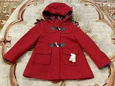Lapin House Red Wool Coat Jacket 4T