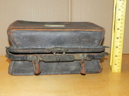 Antique 1800s Doctors Apothecary Kit Leather Travel Case Rare Quackery Vials MA.