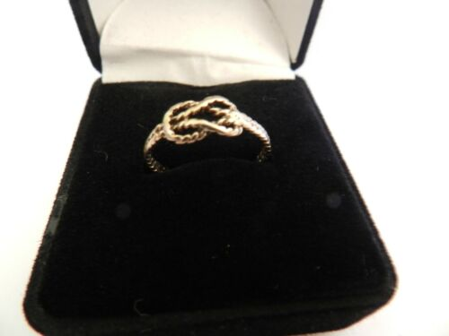 "VINTAGE 9ct YELLOW GOLD ""ROPE"" KNOT RING - UK SIZE P"