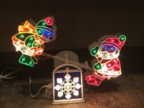 """Christmas Animated/ Light Up Holographic Teeter Tottering Santa and Snowman 16"""""""