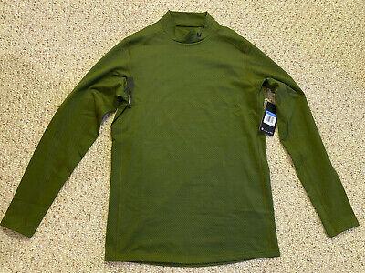 NEW Nike Mens Mock Neck Long Sleeve Thermal Shirt, Dri-Fit, Olive Green, Medium Dri Fit Mock Neck Shirt