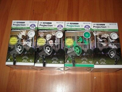 Lot of 4 NEW Gemmy Whirl-A-Motion LED Projector Ghost Skulls Witches Halloween