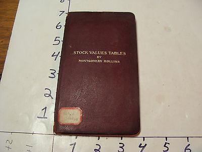 Vintage Museum Deacquisition-1912 Stock Values Tables by M. Rollins authors copy