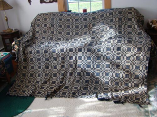 """Antique Vintage Victorian Overshot Coverlet in blue and tan cutter 90"""" L/  82"""" W"""