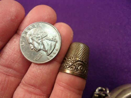 VERY NICE VTG ANTIQUE STERLING SILVER SEWING THIMBLE, ROSE GOLD PLATED or FILLED