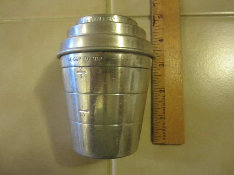 Vintage Aluminum Smoothie Mixer and Measure With Lid 1 Cup Aluminum