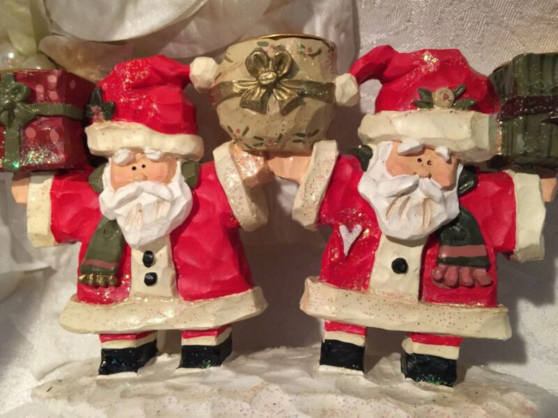 Kurt Adler Snowtown Village Santa Candle Holder Figurine Figure Christmas Decor