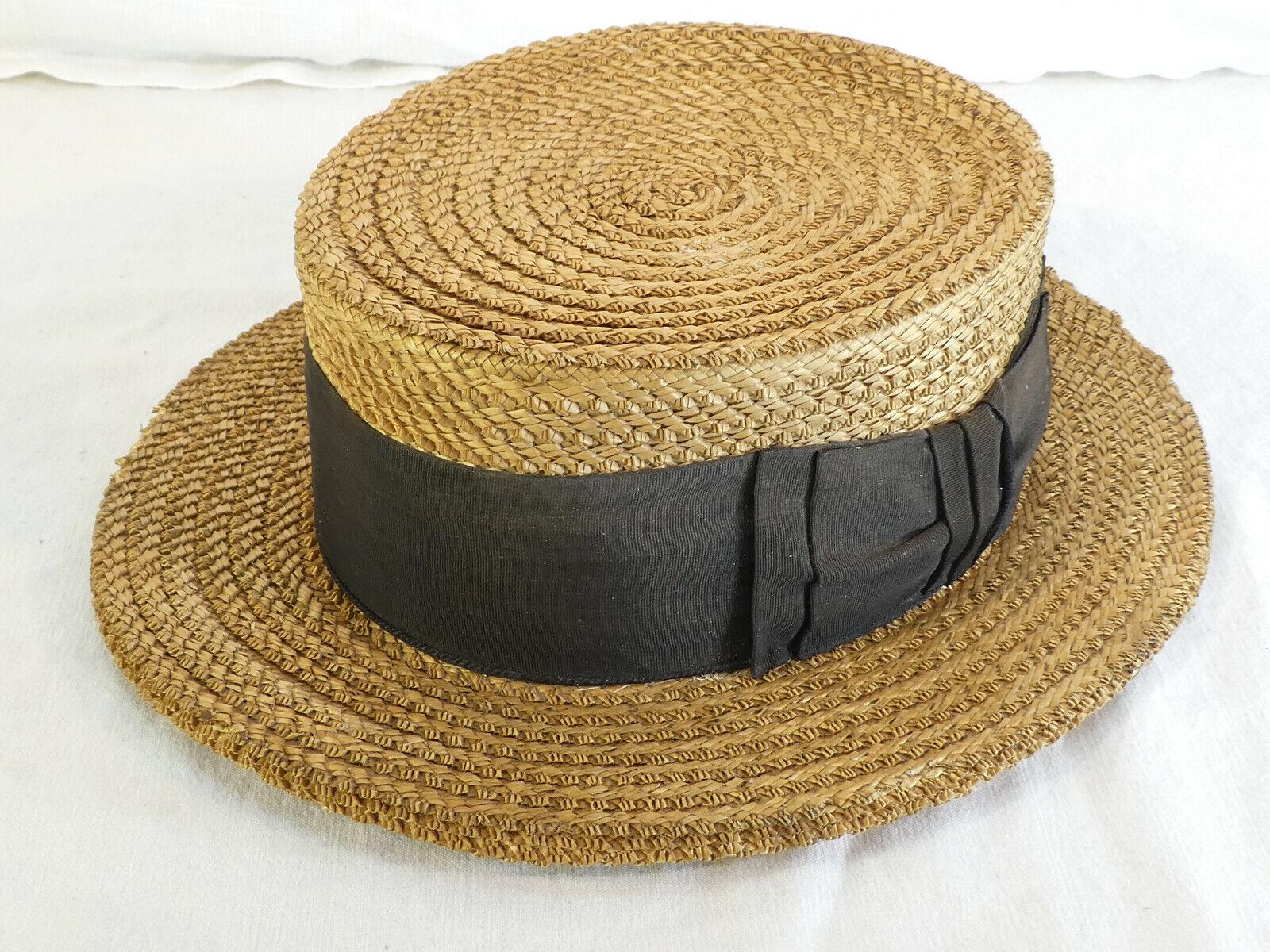 Ancien chapeau canotier en paille avec ruban
