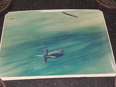 Rare Vintage Submarine Warfare Illustration