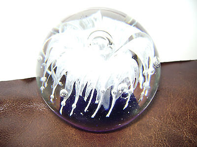 CRYSTAL CLEAR & BLUE GLASS JELLYFISH WATER PAPER WEIGHT OFFICE DESK DECOR RARE