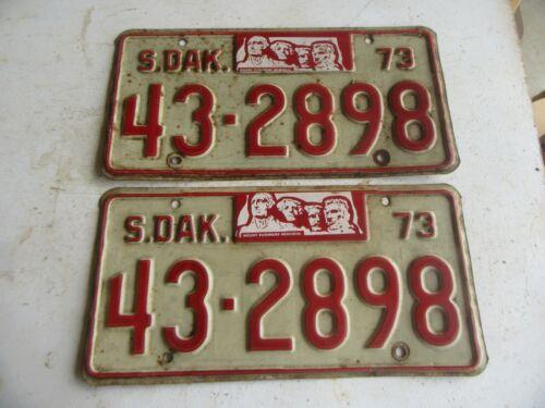Vintage 1973 South Dakota License Plate Pair Lot 20-67-5