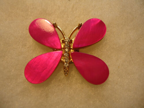 Vintage/nos gold tone pink shell Butterfly pin