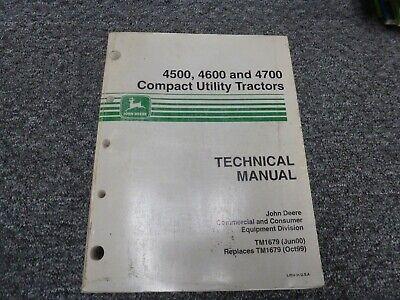 John Deere 4500 4600 4700 Compact Utility Tractor Service Repair Manual Tm1679