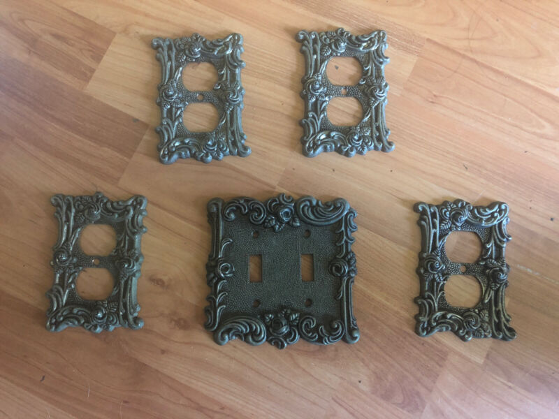 Lot of 5 vintage American Tack Hardware switch plates/ Outlet Covers 1967 Ornate
