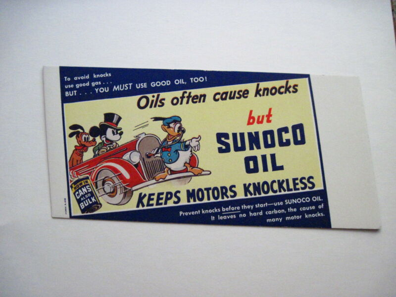 "Vintage Advertising Blotter for ""Sunoco Oil"" /Mickey Mouse, Pluto & Donald Duck*"