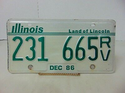 ILLINOIS LICENSE PLATE 231 - 665RV LAND OF LINCOLN LICENSE PLATE 1986