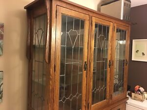 Cabinets, hutch top, dining table, art