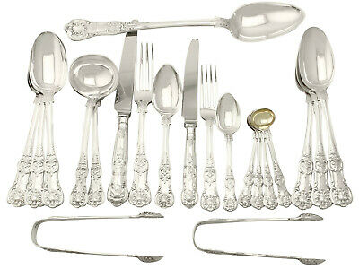 Antique Victorian Sterling Silver Canteen of Cutlery for 18 - 123 pieces