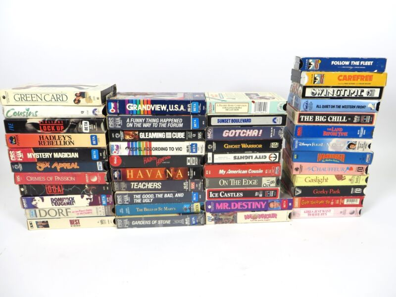 Lot of 44 Vintage Betamax Beta Movie Tapes Horror Sci-Fi Comedy Sexy Cartoon
