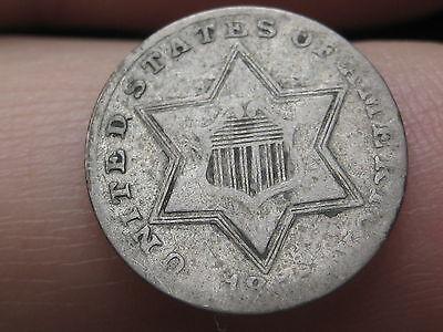 1855 Three 3 Cent Silver, Rare Key Date, VG/Fine Details