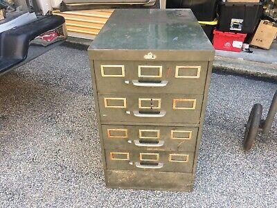 4 Drawer Card Catalog Cabinet Vintage Steel All-steel Equipment Inc Shop Tool