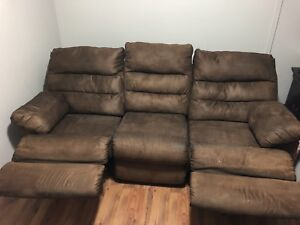 Micro suede reclining couch