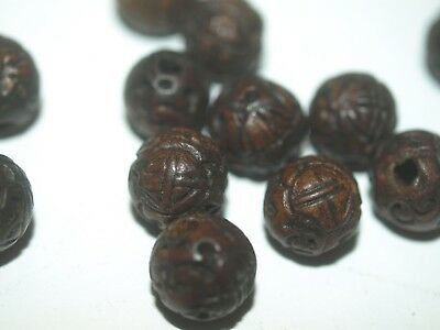 Lot 5x Vintage Carved Chinese Wood Bead Intricate Shou Design Carving Round 11mm