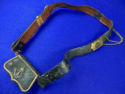 Antique German Germany 19 Century Hussar's Cross Belt with Pouch